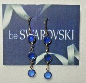 Vintage Swarovski Elements 10K Gold Plate Dangle Earrings Blue Crystal Stones