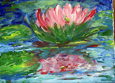 ORIGINAL WATER LILY IMPRESSIONIST OIL PAINTING POND FLORAL