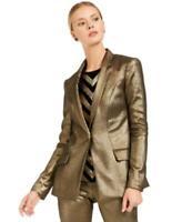 INC Women's One Button Long Sleeve Metallic Blazer (Gold, S)