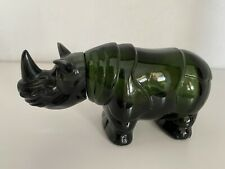 New listing Avon Rhinoceros Green Glass Tai Winds After Shave Decanter Vintage Empty No Box