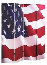 "4-panel Room Screen Divider American Flag Double Sided Canvas 70""H X 67""W"