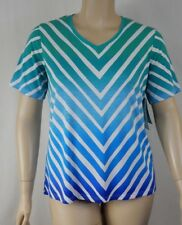 NEW Black Pepper Blue Teal Short Sleeve Soft Stretch Top Tunic Size 16 BNWT #S24