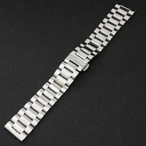Mens 18 19 20 22 24 26 28 mm Solid Stainless Steel Strap Wrist Watch Band Buckle