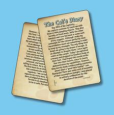 """The Cat's Diary"" Humorous Cat Story - 2 Verse Cards - sku# 114"