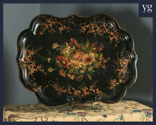 Antique Victorian Ebonised Chinoiserie Floral Papier Mâché Drinks Butlers Tray