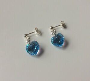 Brand New Sterling Silver & 10mm Swarovski Crystal Aqua Ab Heart Stud Earrings