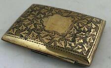 More details for edwardian silver gilt cigarette case birmingham 1906 approx. 8cm w 1.6oz.