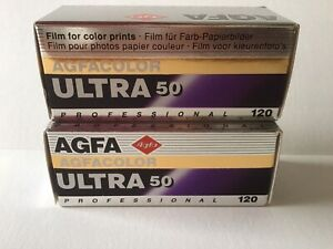 Agfa Two Agfacolor ULTRA 50 Professional Film For Prints 120 Format *Super Rare*