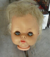 "Vintage 1964 Horsman Blonde Girl Doll Head 4 1/2"" Tall"