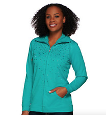Quacker Factory Sparkle Jacket with Sherpa Collar - Jade - XX-Small