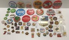 Huge Pin Lot 76 Souvenir Collector Pins Pinbacks Tacks Hat Pins Lapel Tacs Etc