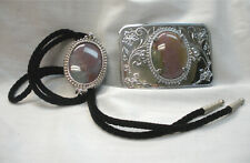 Agate Pale Pink/Green  Western Horseshoe Bolo and Belt Buckle Set Nickle