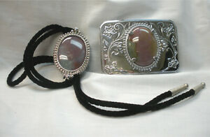 LapidaryAgate Pale Pink/Green  Western Horseshoe Bolo and Belt Buckle Set Nickle