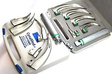 NEW ORIGNAL FIBER OPTIC Laryngoscope Mac Set of 5 BLADE & HANDLES EMT Anesthesia