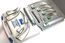 New Orignal Fiber Optic Laryngoscope Mac Set Of 5 Blade Amp Handles Emt Anesthesia