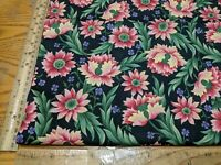 """GORGEOUS! MODA HEATHER FLORAL FLOWERS ON BLACK COTTON FABRIC BY 1/2 YD 44""""W"""