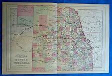 Vintage 1884 MAP ~ KANSAS & NEBRASKA FRONTIERS Old Antique Original