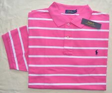 New Large L POLO RALPH LAUREN Mens short sleeve polo shirt pink white stripe top