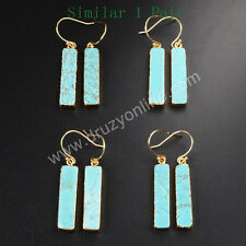 1 Pair Gold Plated Rectangle Blue Howlite Turquoise Dangle Earrings AG1020