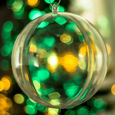 x20 Clear Baubles Empty Fillable Christmas Tree Decorations 140mm Ornament