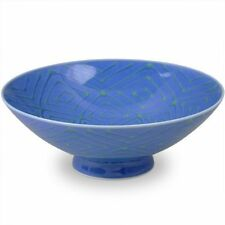 New Hakusan pottery blue rice bowl with green pattern from Japan Fi-7