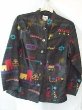 Woman's Black Silk Blend with Embroidery Jacket from Chico's Size 0