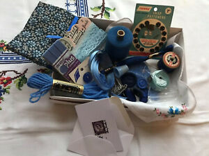 Sanderson Fabric Vintage Blue Sewing Accessories Kit Thread/Buttons 17 Items
