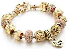 Gold Pandora Charm Bracelet & Genuine Austrian Crystals Ideal Gift