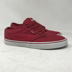 Vans Men Off The Wall TB4R Red Canvas Sneakers Shoes Lace Up Low Top Size 9.5