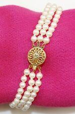 "Triple Row Pearl Bracelet ~ 14K Yellow Gold ~ 7.25"" Length ~ 15g ~ MINT"