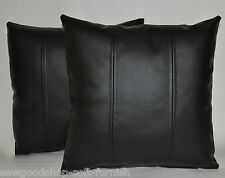 """2 New Faux Leather Cushion Covers in Black  12"""" MINI Scatter Pillows"""