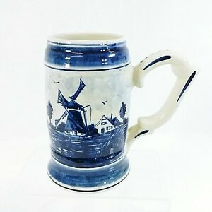 Delft Mug Tankard Windmill Made in Holland Hand Painted Pottery Bottom Stamped