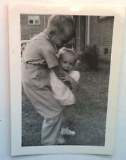 Vintage 40s Photo Picture Cute Little Blonde Young Boy Holding His Sister