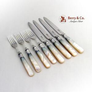 Mother Of Pearl Fruit Forks Knives Set RFM Sterling Silver Sheffield 1908