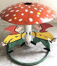 Antique German 3 Elves Mushroom Iron Folk Art Christmas Tree Stand c. 1920's