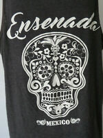 Men's BLACK TANK TOP ENSENADA MEXICO SKULL sleeveless t shirt tee XL extra large