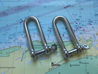 Long D Shackle x 2 Marine Grade Stainless Steel (316) Yachting Sailing Chandlery