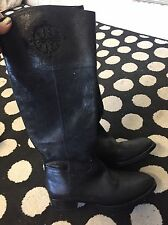 Tory Burch Black Shimmer Riding Logo Boots Size 7.5 $495 New