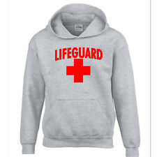 LIFEGUARD HOODIE RED LOGO BEACH SWEATSHIRT CALIFORNIA BEACHES LIFE GUARD