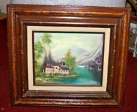 Vintage K Lannart Signed Oil Painting Country Cottage House Water Mountains Tree