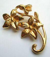 Belle broche bouquet de fleurs couleur or sobre bijou vintage 439
