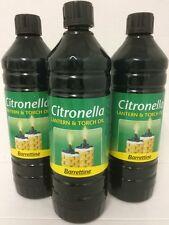CITRONELLA OIL 3 X 1 Ltr PREMIUM OUTDOOR PEST REPELLENT  LAMP AND TORCH OIL BA
