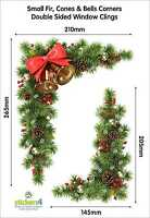 Fir, Cones & Bells Double Sided Corner Clings - Christmas Window Decoration