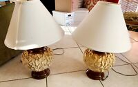 Set of Two Cream Colored Poinsettia Based Lamps with Shades Plug In
