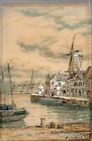 JOHN HAMILTON GLASS Watercolour Painting CANAL NEAR SPAKENBURG NETHERLANDS
