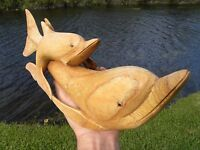 Vintage Dolphin Fish sculpture Folk Art Vintage Handcrafted  Natural Wood