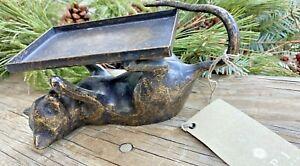 SPI San Pacific International Brass Cat Playful Jewelry Tray Soap Holder NOS