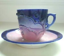 Demitasse Espresso Cup & Saucer Hand Made & Painted Art Pottery Blue Pink