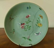 More details for antique chinese celadon large porcelain plate with blue character marks signed