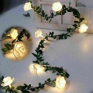 20 LED (3M) Solar Rose Flowers Fairy String Lights Garland Party Wedding White